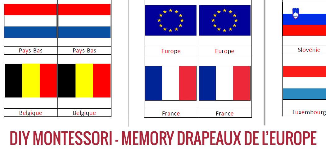 Activit 233 Montessori Le Memory Des Drapeaux De L Europe