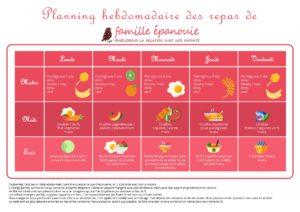 Planning Repas Amélie de Famille Epanouie